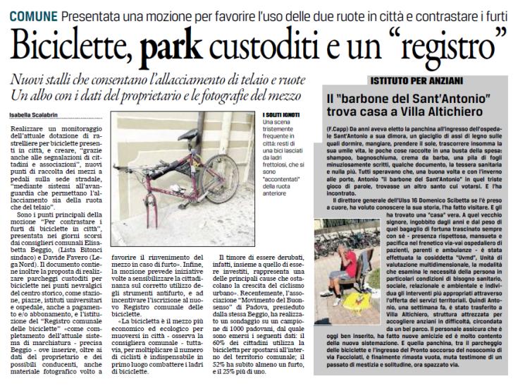 Articolo Gazzettino Mozione furti biciclette.png